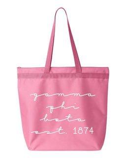 Gamma Phi Beta New Script Established Tote Bag