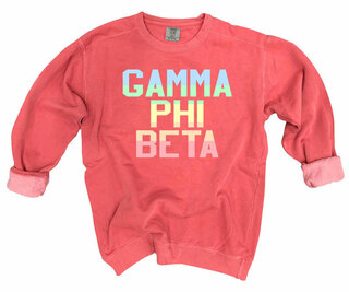 Gamma Phi Beta Pastel Rainbow Crew - Comfort Colors