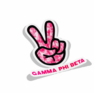 Gamma Phi Beta Peace Hands Decal Sticker