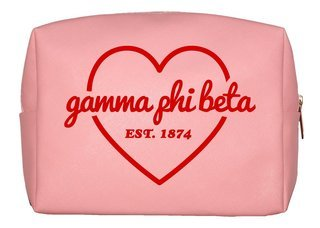 Gamma Phi Beta Pink with Red Heart Makeup Bag
