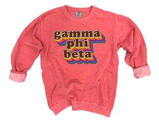 Gamma Phi Beta Retro Maya Comfort Colors Crewneck Sweatshirt