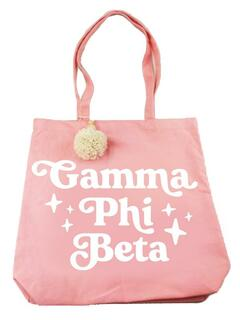 Gamma Phi Beta Retro Pom Pom Tote Bag