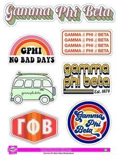Gamma Phi Beta Retro Sticker Sheet