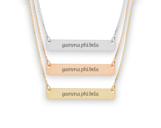 Gamma Phi Beta Script Bar Necklace