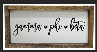 Gamma Phi Beta Script Wooden Signs