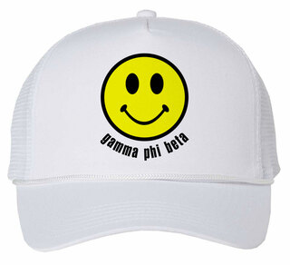 Gamma Phi Beta Smiley Face Trucker Hat