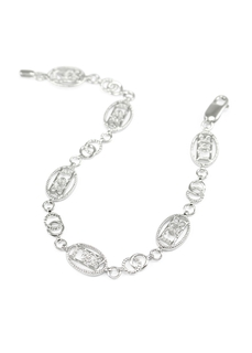 Gamma Phi Beta Sterling Silver Bracelet set with Lab-created Diamonds
