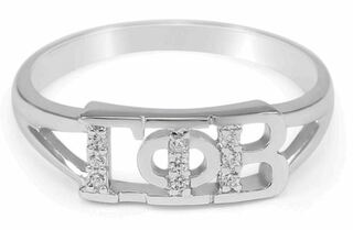 Gamma Phi Beta Sterling Silver Ring set with Lab-Created Diamonds