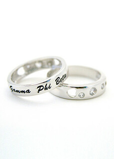 Gamma Phi Beta Sterling Silver Ring with Hearts and Cubic Zirconias