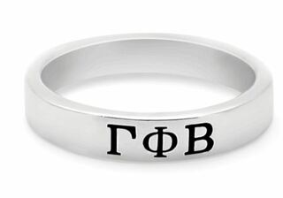 Gamma Phi Beta Sterling Silver Skinny Band Ring
