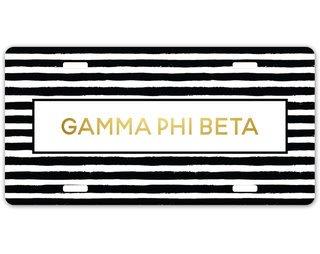 Gamma Phi Beta Striped Gold License Plate
