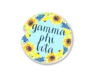 Gamma Phi Beta Sunflower Car Coaster