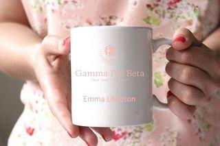 Gamma Phi Beta White Mascot Coffee Mug
