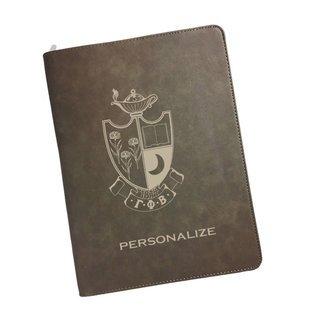Gamma Phi Beta Zipper Leatherette Portfolio with Notepad