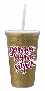 Gamma Sigma Sigma 16 OZ Sorority Newport Glitter Tumbler