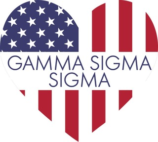 Gamma Sigma Sigma American Flag Greek Heart Shaped Decal