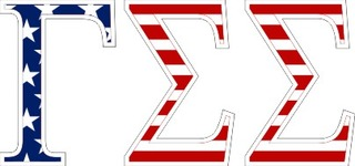 "Gamma Sigma Sigma American Flag Greek Letter Sticker - 2.5"" Tall"