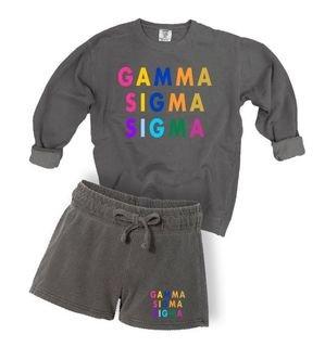 Gamma Sigma Sigma Comfort Colors Crew and Short Set