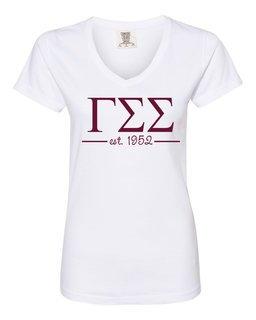Gamma Sigma Sigma Comfort Colors Custom V-Neck T-Shirt