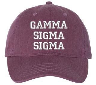 Gamma Sigma Sigma Comfort Colors Pigment Dyed Baseball Cap