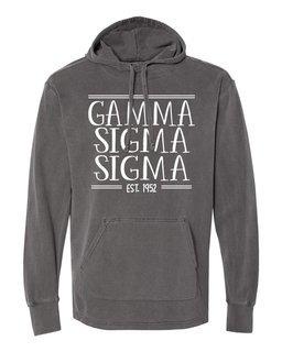 Gamma Sigma Sigma Comfort Colors Terry Scuba Neck Custom Hooded Pullover