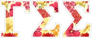 "Gamma Sigma Sigma Floral Greek Letter Sticker - 2.5"" Tall"