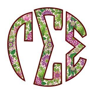 "Gamma Sigma Sigma Floral Greek Monogram Sticker - 3"" Tall"