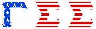 "Gamma Sigma Sigma Giant 4"" American Flag Greek Letter Sticker"