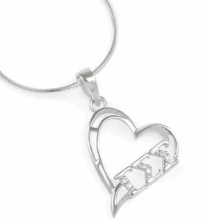 Gamma Sigma Sigma Heart Pendant with simulated diamonds