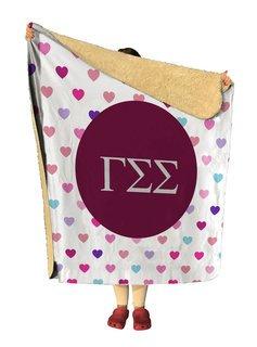 Gamma Sigma Sigma hearts Sherpa Lap Blanket