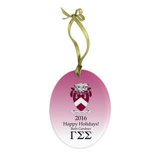 Gamma Sigma Sigma Holiday Color Crest - Shield Glass Ornament