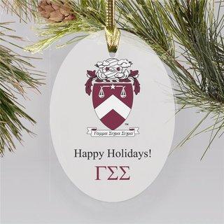 Gamma Sigma Sigma Holiday Color Crest - Shield Ornament