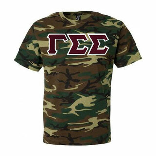 DISCOUNT-Gamma Sigma Sigma Lettered Camouflage T-Shirt