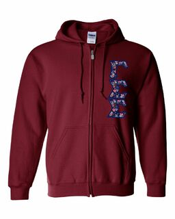 "Gamma Sigma Sigma Lettered Heavy Full-Zip Hooded Sweatshirt (3"" Letters)"