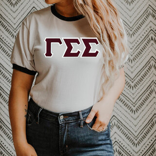 DISCOUNT-Gamma Sigma Sigma Lettered Ringer Shirt