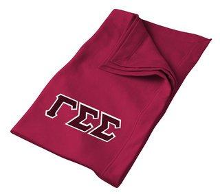DISCOUNT-Gamma Sigma Sigma Lettered Twill Sweatshirt Blanket