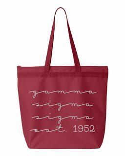 Gamma Sigma Sigma New Script Established Tote Bag