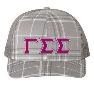 Gamma Sigma Sigma Plaid Snapback Trucker Hat