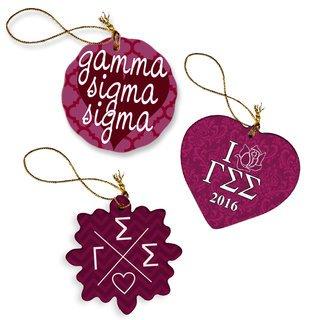 Gamma Sigma Sigma Porcelain Ornament Trio Set