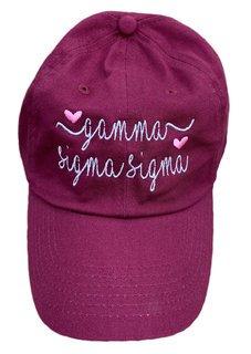 Gamma Sigma Sigma Script Hearts Ball Cap
