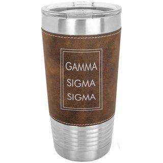 Gamma Sigma Sigma Sorority Leatherette Polar Camel Tumbler