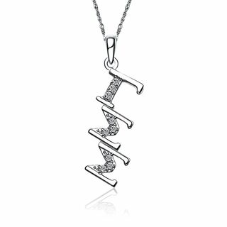 Gamma Sigma Sigma Sterling Silver Diagonal Lavaliere set with Lab-Created Diamonds