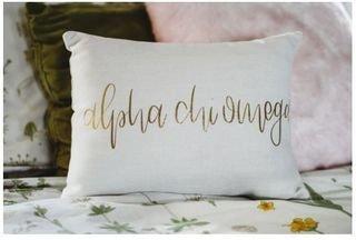 Gold Imprint Sorority Throw Pillow