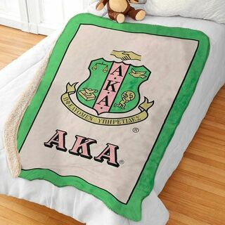 Greek Crest Sherpa Lap Blanket
