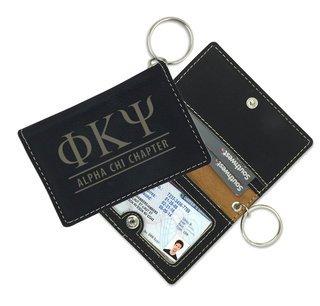 Greek Leatherette ID Key Holders