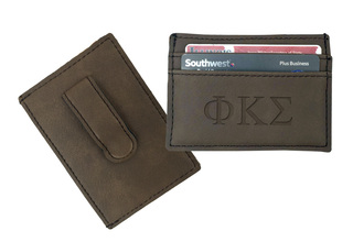 Greek Leatherette Money Clip