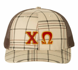 Greek Plaid Snapback Trucker Hat - CLOSEOUT