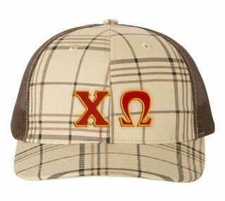 Greek Plaid Snapback Trucker Hat