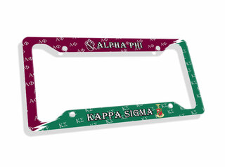 Custom Greek House United License Plate Frame