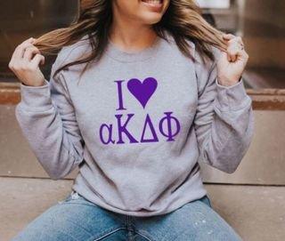 I Love alpha Kappa Delta Phi Crewneck Sweatshirt